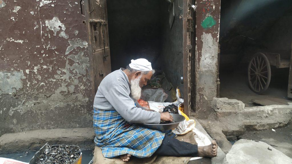 E-waste dismantler in Delhi, India